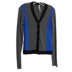 Bailey 44 Colorblock Gray Blue Button Cardigan M